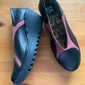Fly London Leather Comfort Wedges 38